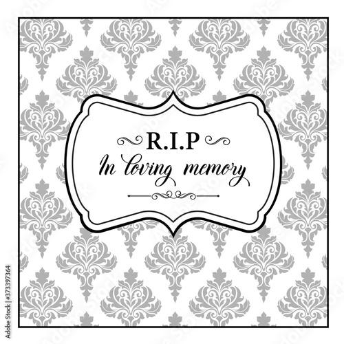 Funeral vector card, obituary memorial with foliate arabesque ornament and vintage elements Billede på lærred
