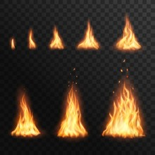 Flaring Up Fire Stages, Vector...