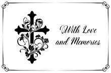 Funeral Card Vector Template With Cross And Floral Ornament Or Flourishes. Vintage Condolence Funereal Card With Frame Love And Memory Typography. Obituary Memorial, Remembrance Retro Funeral Poster