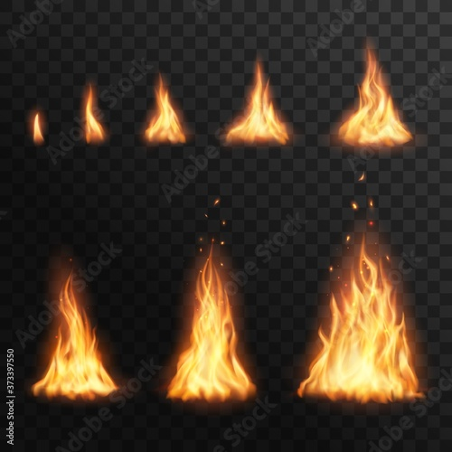 Fotografie, Obraz Flaring up fire stages, Vector burning campfire blaze effect for animation