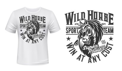 Horse mustang mascot t-shirt print, vector stallion, equestrian sport, racing club. Mare animal with monochrome grunge typography and horse head on white apparel. Bronco sports team t-shirt mockup