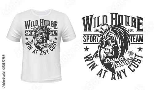 Foto Horse mustang mascot t-shirt print, vector stallion, equestrian sport, racing club
