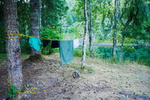 Clothes Drying On A Line At A ...