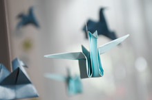 Hanging Blue Origami Birds For...