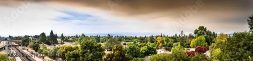 Panoramic view of smoke cloud created by the LNU, CZU and SCU lightning complex Fototapeta