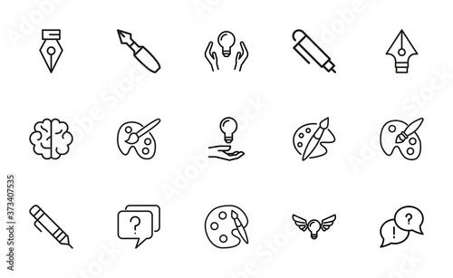 Fotografiet Stroke line icons set of design.