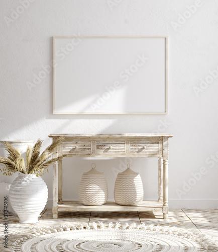 Mock up frame in farmhouse living room interior background, 3d render