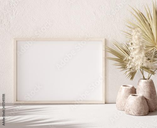 Obraz Mockup frame with dry plant in pot close up, nomadic style, 3d render  - fototapety do salonu