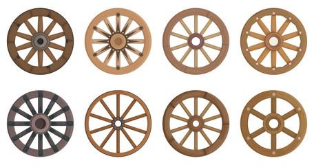 Wooden wheel cartoon vector set illustration of icon.Wheel wagon vector set of icon.Cartoon collection wooden cartwhee wagon on white background.