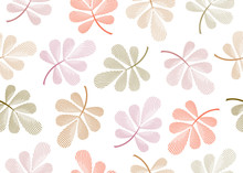 Vector Floral Seamless Pattern. Colorful Pastel Autumn Leaves Isolated On White Background.