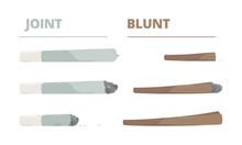 Marijuana Joint. Drugs Cigarette Smoke Cannabis Weed Vector Illustrations In Cartoon Style. Cannabis Weed Joint, Drug Rolled To Smoking, Self-roll Ganja