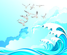 Seagulls Flying Over High Ocean Waves Set Against A Cloudy Blue Sky