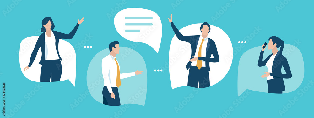 Fototapeta Discussion. Communication concept. Business people talking standing in the speech bubbles. Vector illustration.