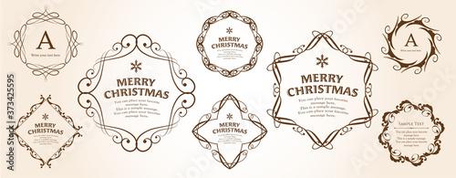 クリスマスのフレームセット、リースのデザイン、オーナメントや装飾デザイン Canvas-taulu