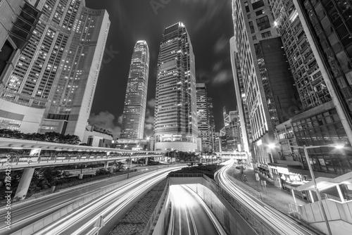 Obraz Downtown district of Hong Kong city at night - fototapety do salonu