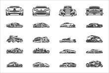 Vintage Classic Car Silhouettes And Icons Isolated On White Background Vector Illutrations Set.
