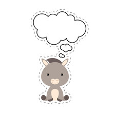 Cute Cartoon Donkey With Speech Bubble Sticker. Kawaii Character On White Background. Cartoon Sitting Animal Postcard Clipart For Birthday, Baby Shower, Party Event. Vector Stock Illustration.