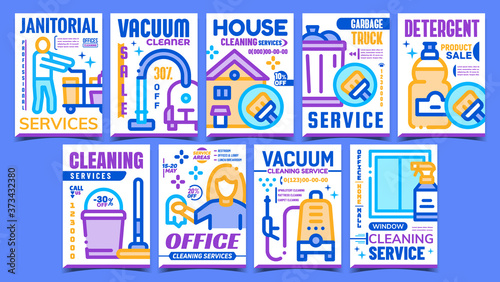 Obraz na plátne Cleaning Service Advertising Posters Set Vector