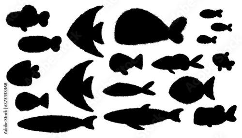 Fotografiet シンプルな魚のシルエットイラスト
