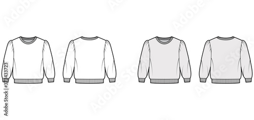 Fotografía Cropped cotton-terry sweatshirt technical fashion illustration with puffed shoulders, elbow sleeves, ribbed trims