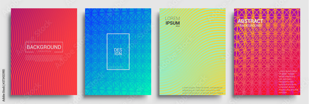 Fototapeta Minimal covers design. Geometric halftone gradients. Vector illustration of bright color abstract pattern background with line gradient texture for minimal dynamic cover design.