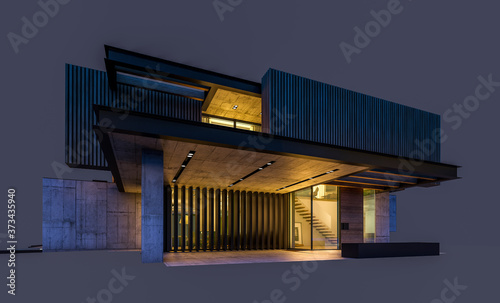 Photo 3d rendering of modern cozy house with parking and pool for sale or rent with wood plank facade
