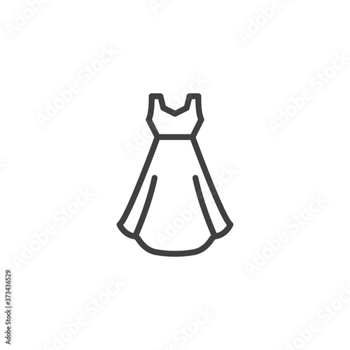 Evening dress line icon. linear style sign for mobile concept and web design. Gown dress outline vector icon. Symbol, logo illustration. Vector graphics