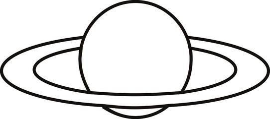 Line art vector illustration of Saturn