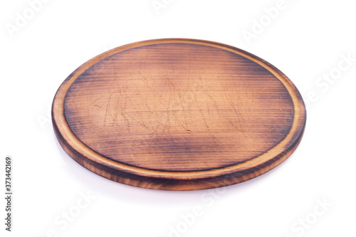 Fototapeta pizza cutting wooden board  isolated on white background