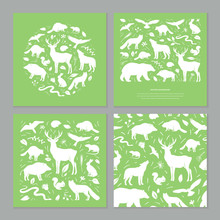 Vector Forest Animals Set Vect...