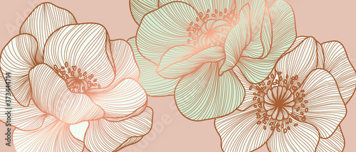 Plakaty różowe  floral-seamless-pastel-pink-and-golden-metallic-plant-background-vector-for-house-deco