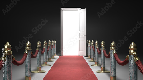 Photographie Path to fame concept red carpet leading to the open door 3d render on darck back