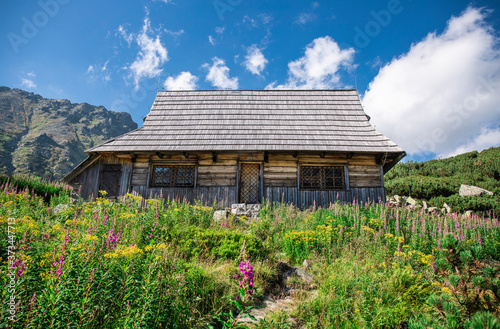 Obraz na plátně Alpine style meadow with rural ristic house in the mountains valley