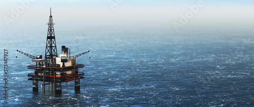 Offshore drilling rig on the sea. Oil platform