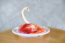 Carving Apple Make It Bird Or Swan On White Plate - Fruit Carving