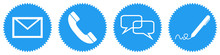 Blaue Buttons: Kontakt Per E-M...