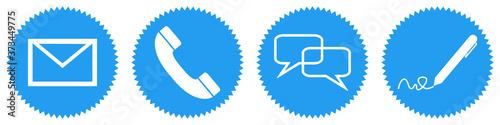Obraz na plátně Blaue Buttons: Kontakt per E-Mail, Telefon Hotline, Brief oder im persönlichen G