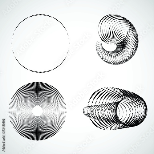 Halftone dots in tunnel form. round logo . vector dotted frame pipe . tube design element Wall mural