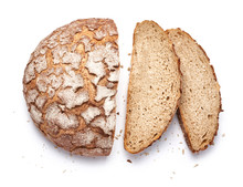 Sliced Bread Isolated On White Background. Top View.