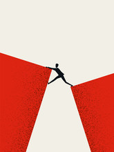 Business Challenge And Success Vector Concept With Businessman Climbing Over Gap. Symbol Of Ambition, Motivation.