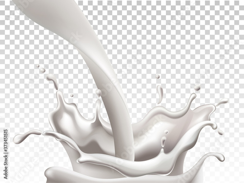 Leinwand Poster Milk pouring down and making big splashes. Realistic