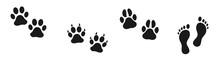 Set Of Human And Animal Footpr...