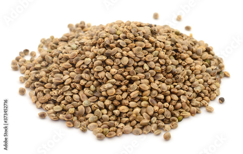 Heap of hemp seeds. Fotobehang