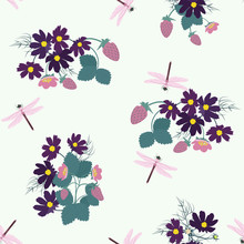 Seamless Botanical Pattern With Flowers, Berries Of Strawberry And Dragonfly