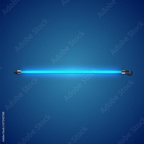 Tela Realistic neon tube with glow, vector illustration