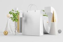 Shopping Bag On Minimal Abstra...