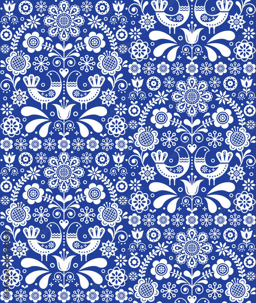 Scandinavian seamless folk art vector pattern, floral repetitive background with birds and flowers in white on navy blue