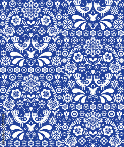 Платно Scandinavian seamless folk art vector pattern, floral repetitive background with