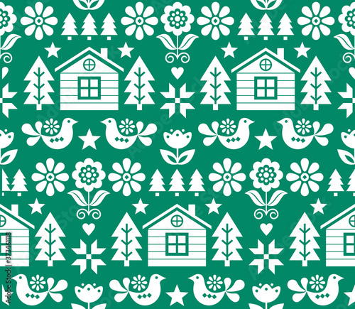 Christmas Scandinavian folk art vector seamless pattern in white on green with Christmas trees, birds, flowers and Finnish house