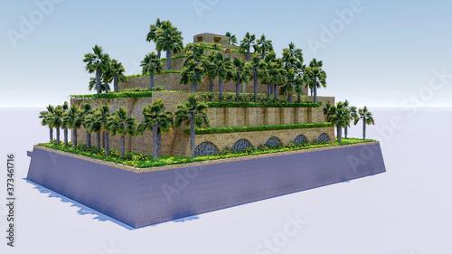 Carta da parati Isolatd 3d rendering of Hanging Garden of Babylon